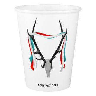 Trophy Deer Stag Skull With Antlers Paper Cup