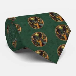 Trophy Elk Head Forest Green Tie