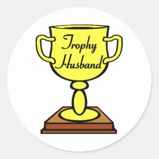 Trophy Husband Classic Round Sticker