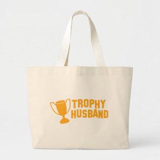 trophy husband large tote bag