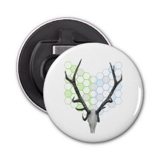 Trophy stag antlers geometric pattern button bottle opener