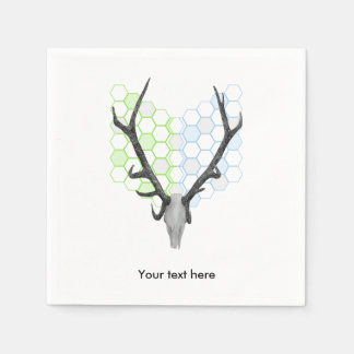 Trophy stag antlers geometric pattern paper napkins