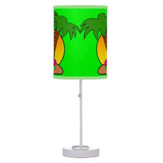 Tropic Island Palm Trees Green Table Lamp