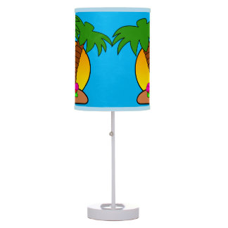 Tropic Island Palm Trees Turquoise Table Lamp
