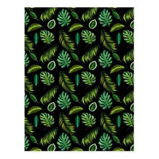 Tropic Leaves Pattern Handmade Floral Tiki Postcard