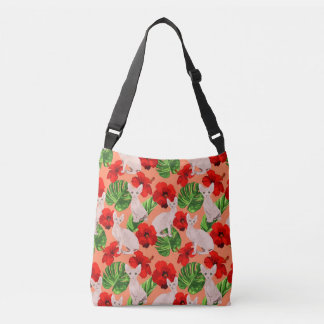 Tropic Sphynx Cat Vector Seamless Pattern Crossbody Bag