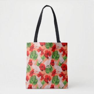 Tropic Sphynx Cat Vector Seamless Pattern Tote Bag