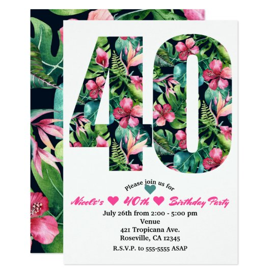 Tropical 40 40th Forty Birthday Party Invitation