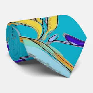 Tropical Accent Floral Bird-of-Paradise (Aqua) Tie