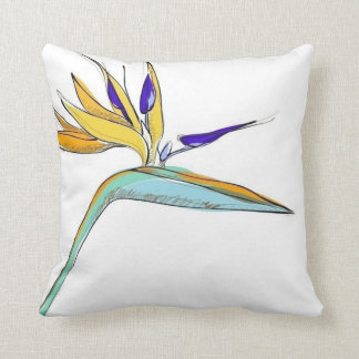 Tropical Accent Floral Bird-of-Paradise Throw Pillow