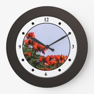 Tropical African Tulliptree Blooming Modern Digits Wall Clock