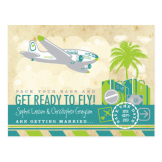 Tropical Airline Travel Save the Date Postcard