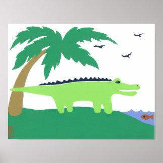 Tropical Alligator Art for Kids, Safari Sky Look Poster