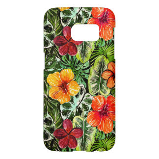 Tropical Aloha  Exotic Jungle Flowers Samsung Galaxy S7 Case