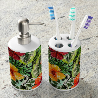 Tropical Aloha  Exotic Jungle Flowers Soap Dispenser And Toothbrush Holder