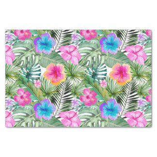Tropical Aloha  Exotic Jungle Flowers Tissue Paper