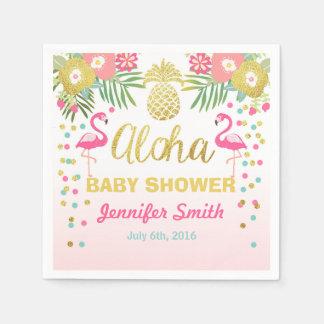 Tropical Aloha Flamingo Baby Shower Paper Napkin