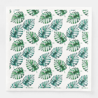 Tropical Aloha Monstera Leaves Pattern Paper Napkin