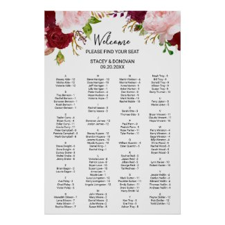Tropical and Romantic Alphabetical Seating Chart