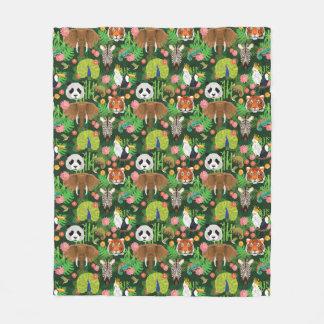 Tropical Animal Mix Fleece Blanket