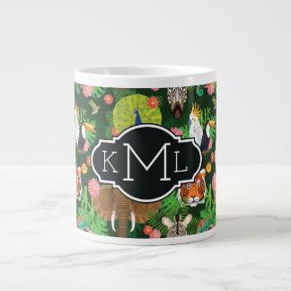 Tropical Animal Mix | Monogram Large Coffee Mug