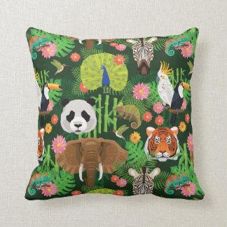 Tropical Animal Mix Throw Pillow