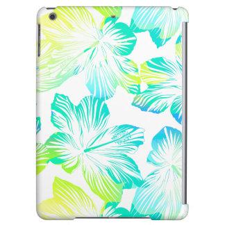 Tropical aqua flowers iPad air cases