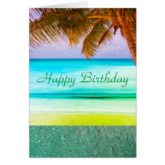 Tropical Aqua Island Birthday Greeting Card