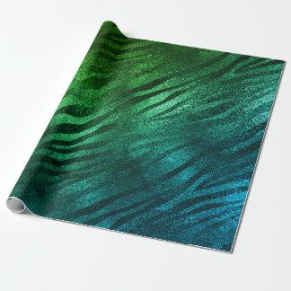 Tropical Aquatic Glass Metallic Zebra Animal Skin