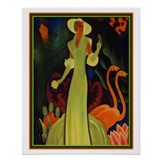 Tropical Art Deco Print by William P. Welsh 16x20
