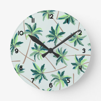 Tropical Australian foxtail palm Round Clock