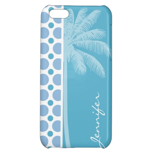Tropical Baby Blue Polka Dots iPhone 5C Cases