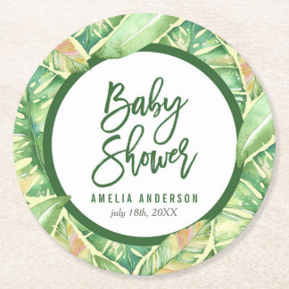 Tropical Baby Shower Green Watercolor Leaves Round Paper Coaster