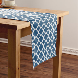 Tropical Bahama Blue White Ikat Quatrefoil Pattern Medium Table Runner