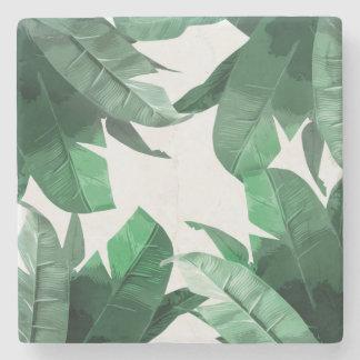 Tropical Banana Leaf Print Marble Stone Coaster