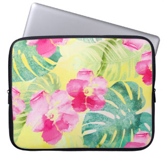 Tropical Banana Leaves and Hibiscus Flowers Laptop Sleeve