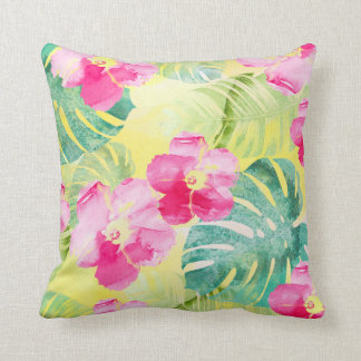 Tropical Banana Leaves and Hibiscus Flowers Throw Pillow