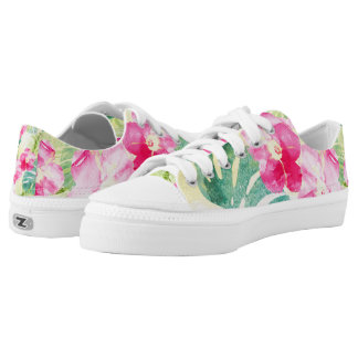 Tropical Banana Leaves and Pink Hibiscus Flowers Low-Top Sneakers