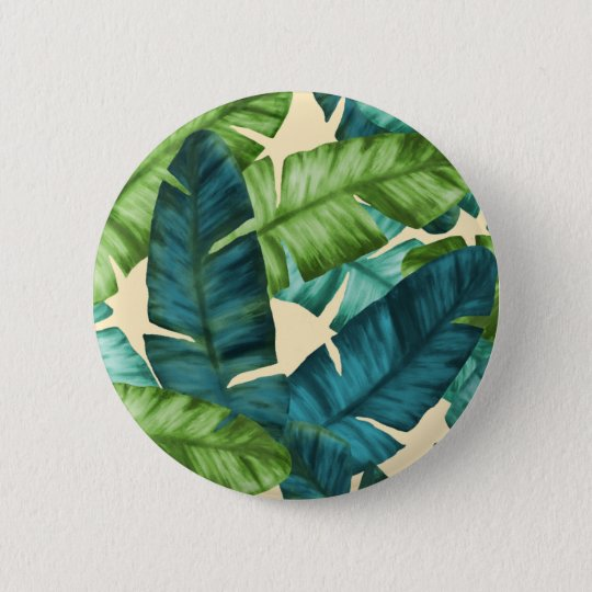 Tropical Banana Leaves Original Pattern 2 Inch Round Button