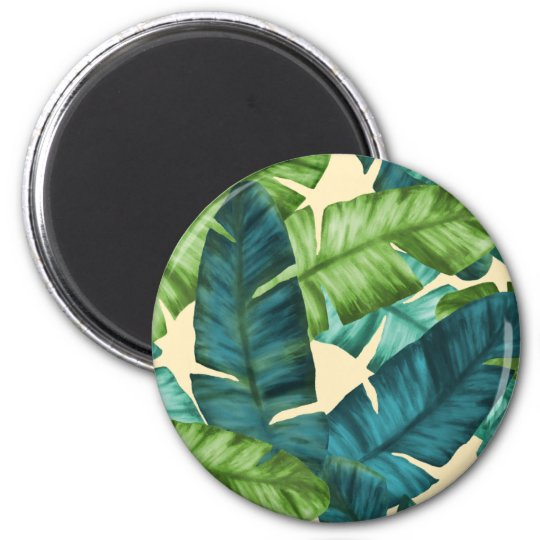 Tropical Banana Leaves Original Pattern 2 Inch Round Magnet