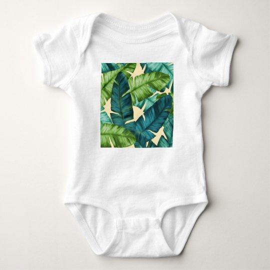 Tropical Banana Leaves Original Pattern Baby Bodysuit