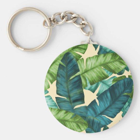 Tropical Banana Leaves Original Pattern Basic Round Button Keychain
