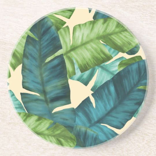 Tropical Banana Leaves Original Pattern Beverage Coaster