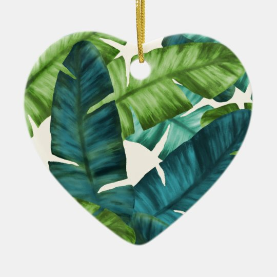 Tropical Banana Leaves Original Pattern Ceramic Heart Ornament