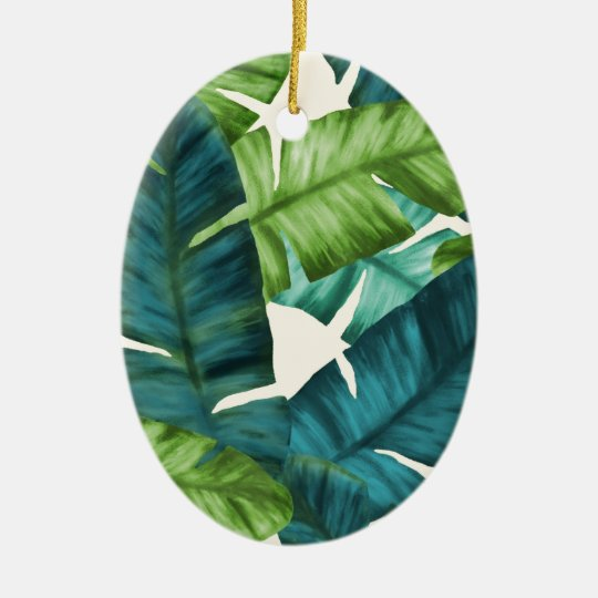 Tropical Banana Leaves Original Pattern Ceramic Ornament