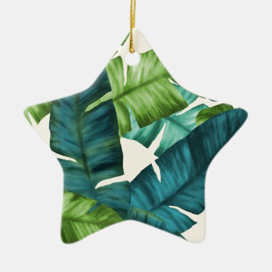 Tropical Banana Leaves Original Pattern Ceramic Star Ornament