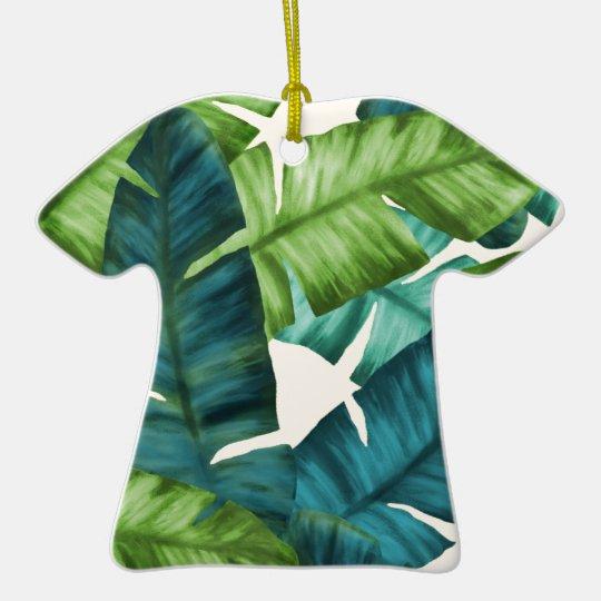 Tropical Banana Leaves Original Pattern Ceramic T-Shirt Ornament