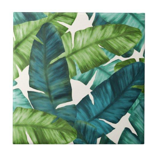 Tropical Banana Leaves Original Pattern Ceramic Tiles