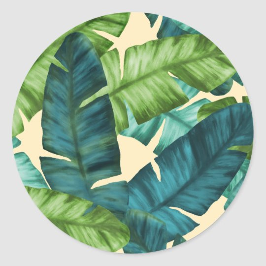Tropical Banana Leaves Original Pattern Classic Round Sticker