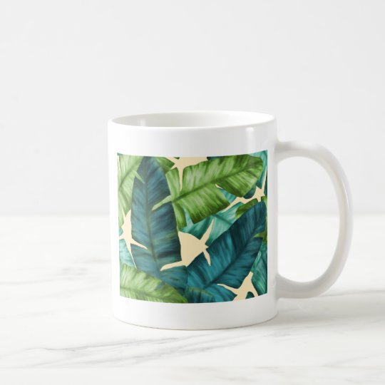 Tropical Banana Leaves Original Pattern Coffee Mug